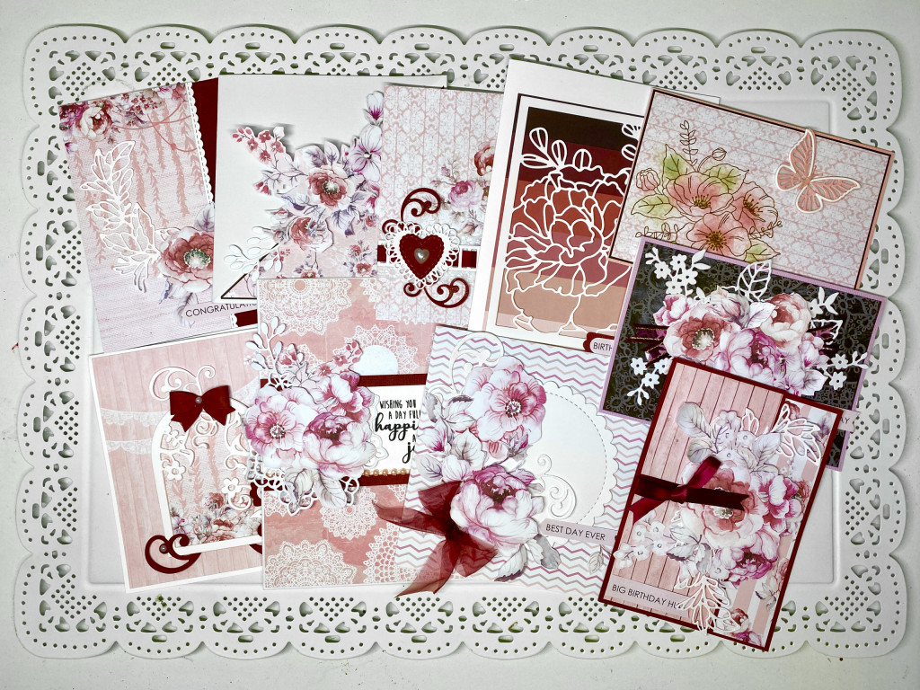 Cardmaking kit featuring pinks, reds and whites